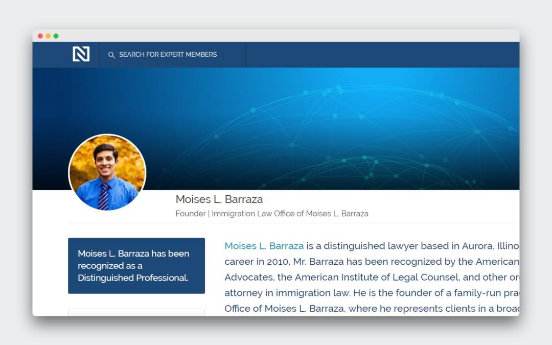 Moisés L. Barraza ha sido reconocido como uno de los mejores en su ramo por la red de expertos.