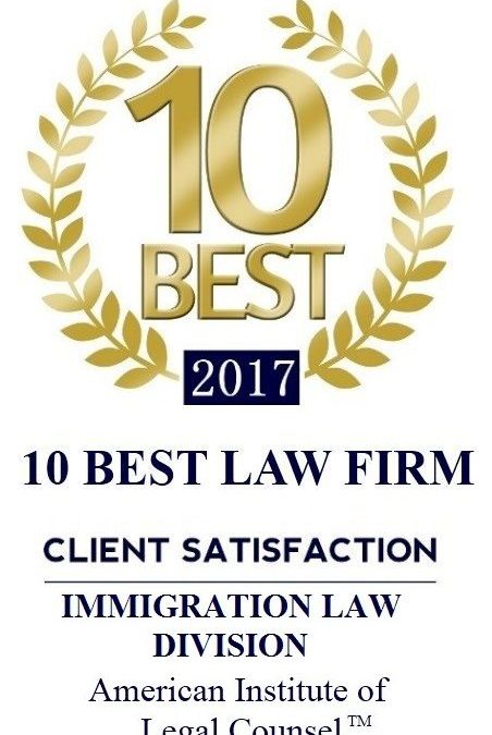 """""""10 Best Law Firms"""" – American Institute of Legal Counsel (2017-2019)"""